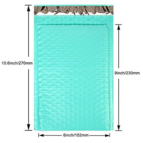 Sobres acolchados de plástico de burbujas, 3 tamaños, color verde azulado, color 6 x 9 pulgadas 17 x 23 cm talla única