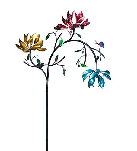 Großer Wind Spinner aus Metall mit drei sich drehenden Blumen und Schmetterlingen Windmühle für Rasenterrasse und Garten Draussen Hof Kunst, Garden Stakes Wind Catcher Windmühlen Dekorationen