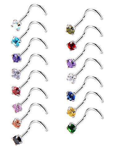 20 Gauge 15 Pieces Curved Nose Rings Stainless Steel Nose Studs Cubic Zirconia Screw Piercing Body Jewelry, 15 Colors