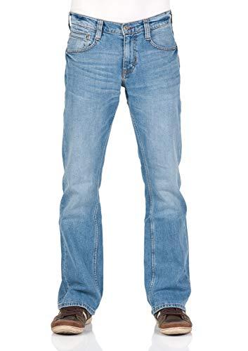 MUSTANG Herren Jeans Hose Oregon Bootcut Männer Jeanshose Denim Stretch Baumwolle Blau Schwarz W30 W31 W32 W33 W34 W36 W38 W40, Größe:W 38 L 30, Farbe:Light Blue Denim (202)