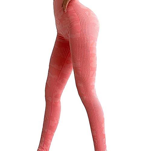LSRRYD Push up Mujer Leggins Deportivos Yoga Leggings de Cintura Alta Pantalones Deporte para Fitness Running para Running Training Fitness (Color : Pink, Size : L)