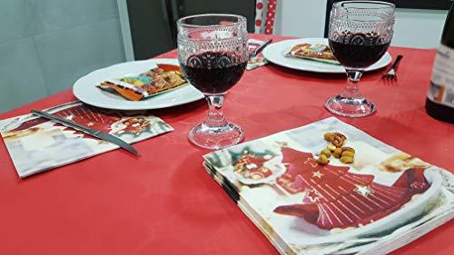bissu -. Mantel de Papel Plastificado Desechable Antimanchas para Mesas de Comedor y Cocina Rectangulares de Colores. | Rollo de 25 x 1.18 Metros. (Rojo)