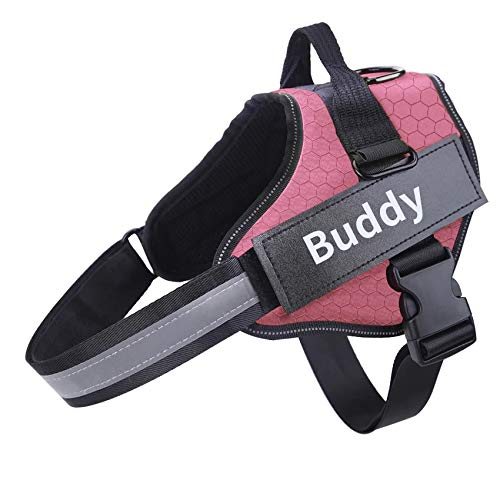Personalized (Fluorescent Patch) Dog Harness NO Pull Reflective Adjustable Dog Harness Vest for Small Large Outdoor Walking