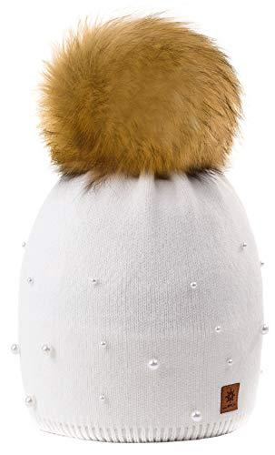 4sold Beanie Hat Mujer Sombreros con Bola Pequeña Lana De Invierno para Mujer Gorro de Punto con Gran Pom Pom Cap Ski Snowboard Bobble (Model 1 Ecru)