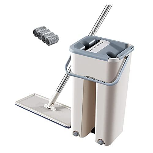 RTYUIE Fregona de torsión a Mano con Cubo doméstico Cocina autolimpiante Magic Magic Bucket for Lavar los Suministros de Limpieza for el hogar fácil de Limpiar (Color : Khaki 4PCS)