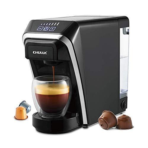 CHULUX Cafetières à capsules CM823, Machine à café automatique 1400W,Temps de chauffe 14 sec , Réservoir d'eau amovible 800ml ,7 Levels brewing size,Compatible avec Nespresso et Dolce Gusto