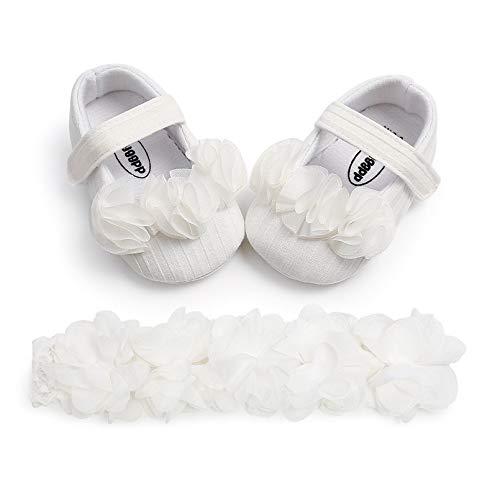 TMEOG 2 Pcs Kleinkind Schuhe+Stirnband, Baby Mädchen Blumen Schuh Anti-Rutsch-Weiche Besondere Anlässe Taufe Hochzeit Party Schuhe (C_Weiß, 6_Months)