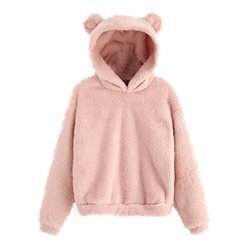 Lazzboy Kapuzenpullover Frauen Langarm Warme Bärenform Hoodie Pullover Damen Kapuzenjacke Bär...