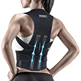 Snoky Posture Corrector,Back Brace for Women and Men Support straightener, Shoulder Lumbar Adjustable Posture Corrector for Improve Posture, for Neck, Back and Shoulder Pain Relief Black(XL)