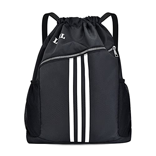 PopTopping Cinch Bags Waterrepous Drawstring Bags with Pockets Gym Backpack for Men Women Workout Yoga Black Red Gray