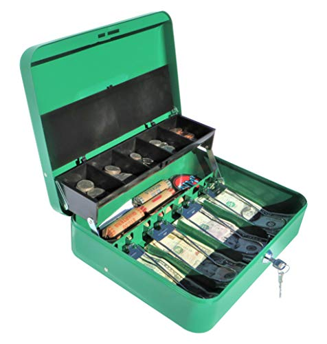 Cash Box with Money Tray | Scout Green | Petty Cash Lock Box | Tiered Design with Cash Tray for Bills and Coins | Portable Money Box | Ideal for Cash Registers and Petty Cash | Secure Lock with 2 Keys