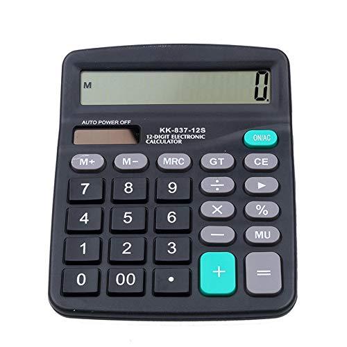Solar Calculator Bereken Solar 2 in1 Aangedreven 12 Cijfer Elektronische Calculator met Grote Knop voor Kantoor Zwart