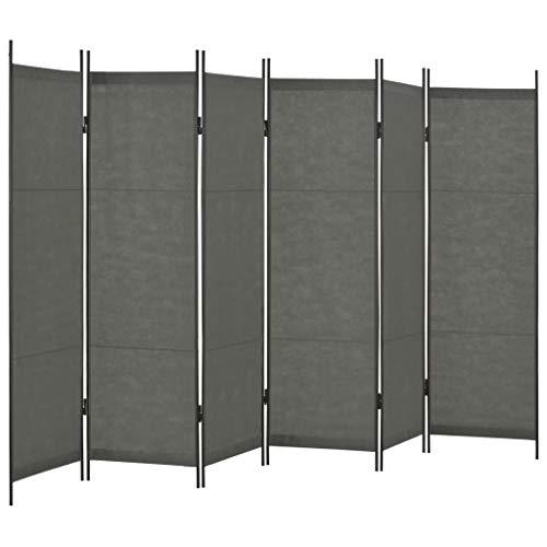 vidaXL Raumteiler 6-TLG. Klappbar Paravent Trennwand Umkleide Sichtschutz Spanische Wand Raumtrenner Raumtrennwand Schlafzimmer Anthrazit 300x180cm