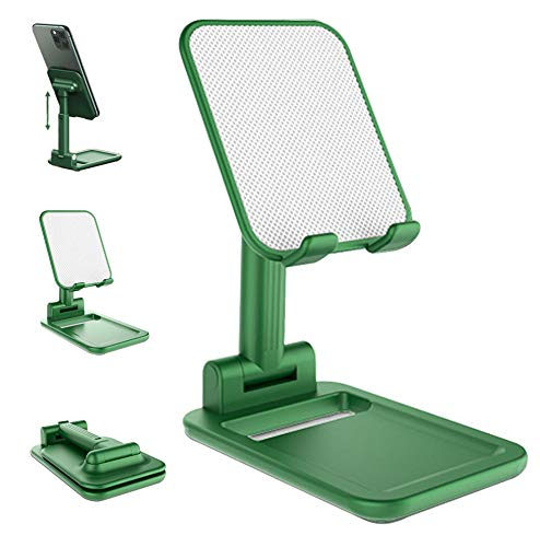 Cell Phone Stand Angle Height Adjustable Cell Phone Stand for Desk, Cell Phone Holder, Tablet Stand, Fully Foldable Case Friendly Compatible with All Mobile Phone,Kindle,Table,iPad (Green)