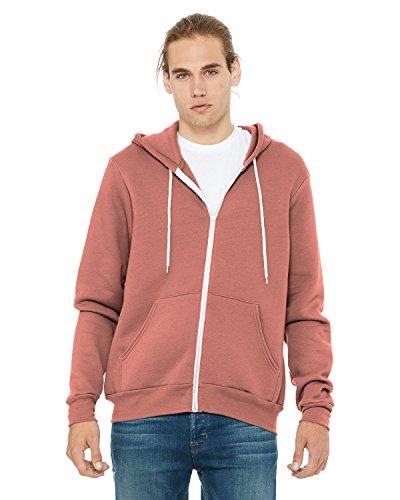 Bella Canvas Men's Poly-Cotton Fleece Full-Zip Hoodie, Mauve, Large