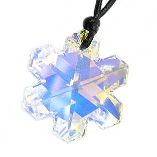 Queenberry Leather Choker Necklace with Swarovski Elements Crystal Clear AB Snowflake Pendant, 14' - 24'