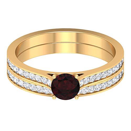 Anillo solitario de granate de 5,00 mm, anillo de eternidad de diamante HI-SI, conjunto de anillos de boda de oro (calidad AAAA), 14K Oro amarillo, Size:EU 61