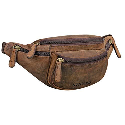 STILORD 'Eliah' Riñonera o Bolsa de Cuero Vintage Bolso de Cintura Cadera o cinturón para Hombre y Mujer para Deportes Running Fiestas Ocio o Aire Libre, Color:Colorado - marrón