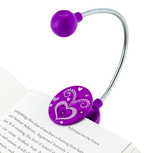 WITHit Clip On Book Light –Violet Heart– LED Reading Light for Books and eBooks Reduced Glare Portable and Lightweight Cute Bookmark Light for Kids and Adults Batteries Included