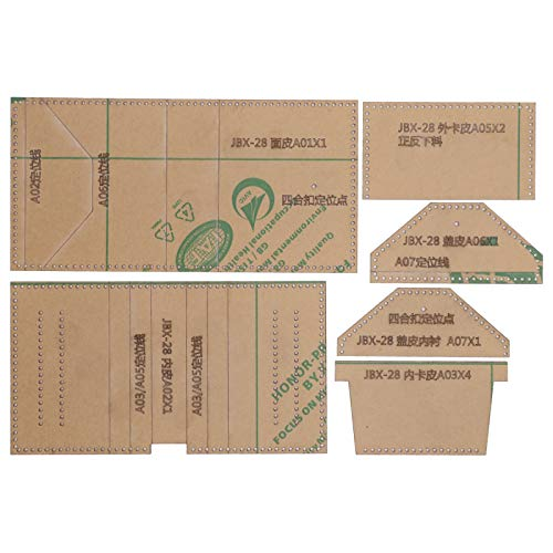 6-teilige Schablonen aus klarem Acryl, transparentes kurzes Brieftaschenmuster Handwerk Handgefertigte Werkzeuge Schablonenvorlage Leder Bastelmuster Form Handgemachtes Handwerk