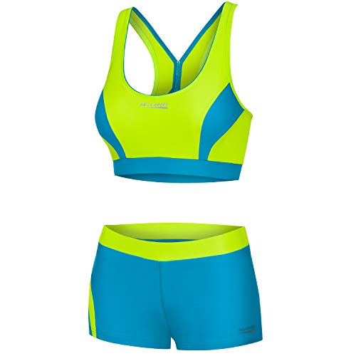 Aqua Speed Sport Bikini Set Damen | Zweiteiler für Mädchen Frauen | Two Piece Swimsuit | Swimwear | Coole Bikinis for Women | Swimming Pool | Schwimmbad | Gr. 34, 28 Limette - Türkis | Fiona