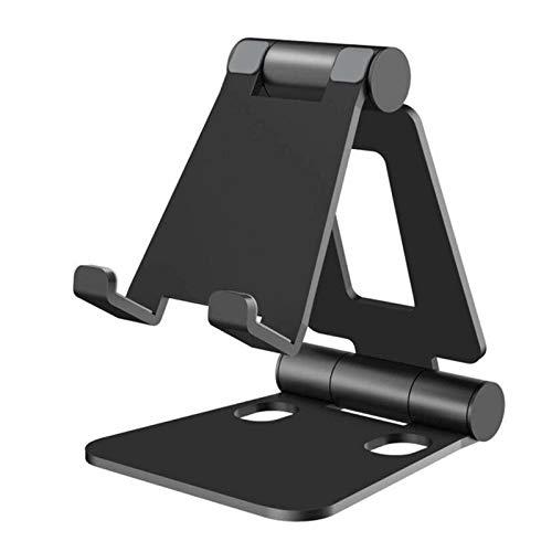 AOXING Soporte plegable portátil para teléfono celular y tablet, soporte de metal giratorio universal para iPhone, iPad, Kindle, Samsung, smartphone y tablet de hasta 0 a 100 grados (BK)