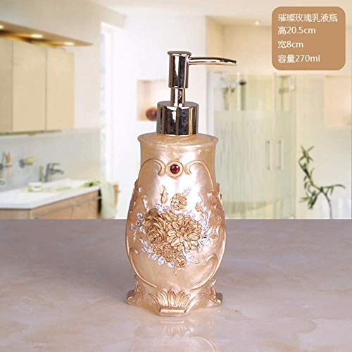 ZLXLX lotion fles vloeibare zeepbakje, navulbare retro Oosterse industriële eco-hars vintage zeepdispenser, gouden rose rode bead carving shampoo vloeibare handdesinfectiefles, 270 m