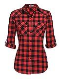 Zeagoo Plaid Tunic Ladies Tartan Gingham Short Sleeve Flannel Shirt (Red, XXL)