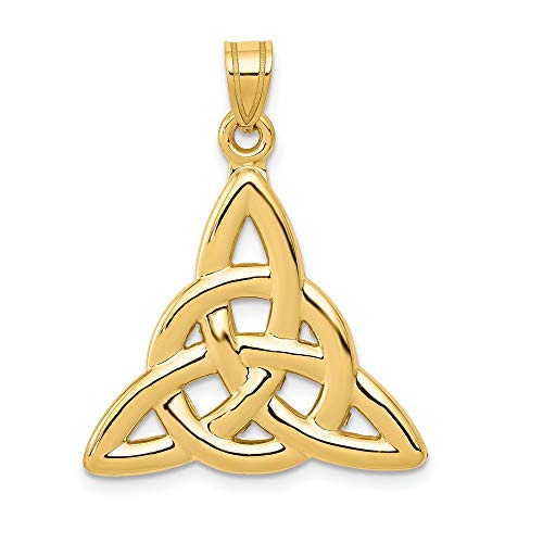 14k Yellow Gold Trinity Knot Pendant Charm Necklace Celtic Claddagh Fine Jewelry For Women Gifts For Her
