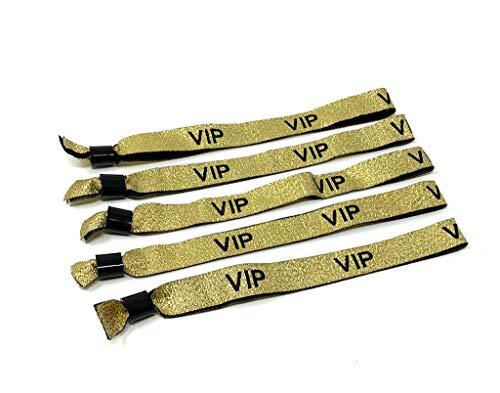 Twist4 50 VIP Stoff Einlassbänder VIP Stoffbänder Festivalbändchen Kontrollbänder VIP Eintrittsbänder 50 Stück - Gold Glitter Glitzer für Silvester Party Feste Festivals