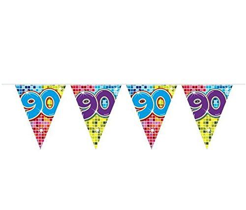 bb10 Schmuck 90.Geburtstag Deko Girlande mit Zahl 90 Wimpelgirlande Wimpelkette mit 15 Flaggen und 6m lang Dekoration zum 90er Geburtstag Party oder andere Anlässe