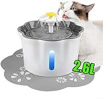 نافورة كهربائية مع مرشح مياه لمياه شرب القطط والكلاب، 2.6 لتر (88 اونصة)، نافورة كهربائية أوتوماتيكية للحيوانات الأليفة...