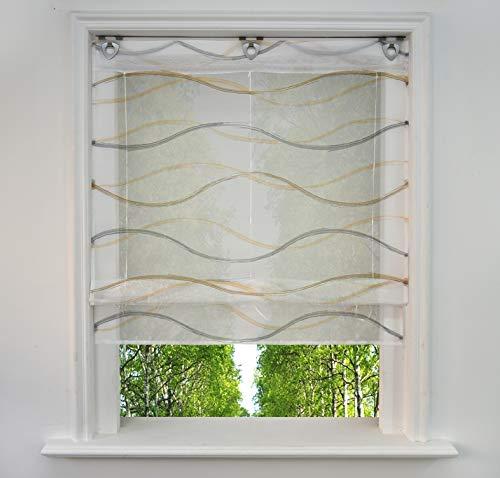 BAILEY JO Ösenrollo mit Wellen Druck Design Raffrollo Voile Transparent Raffgardine mit U-Haken (BxH 100x130cm, Bunt Sand2)