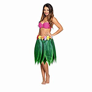 SWCarry Ti Leaf Hula Skirt Hawaiian Leaf Skirt Beach Luau Party Girl Green Grass Skirt boy with Artificial Hibiscus Flowers