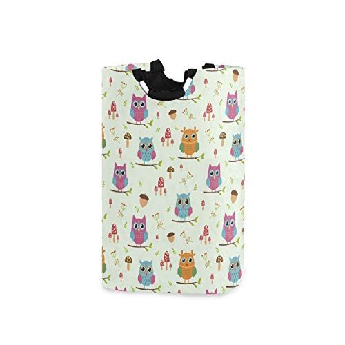 Qilmy 22.7'' Owl Cherry Waterproof Foldable Laundry Hamper, Dirty Clothes Laundry Basket, Storage Organizer for Toy Collection