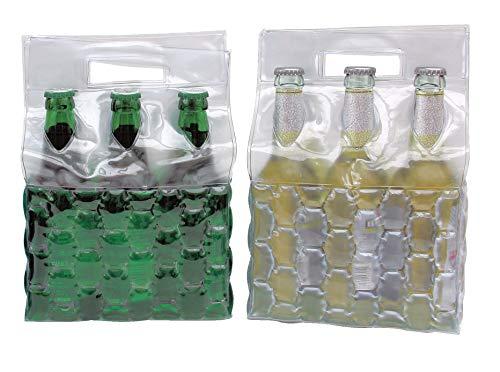 joka international GmbH 2 Flaschenkühler Sixpack m Eisgel grün und weiß Weinkühler zum einfrieren 14329