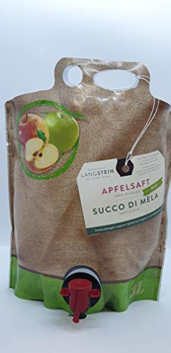 Succo di mela torbido naturale 100% biologico senza zuccheri aggiunti, 1 confezione da 3 litri.