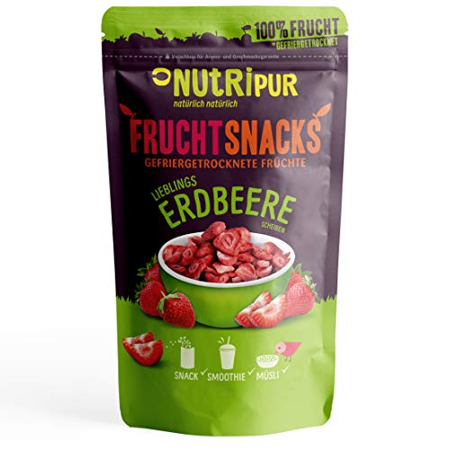 Erdbeeren gefriergetrocknet 25g I Getrocknete Erdbeeren Scheiben ohne Zucker I 100% Frucht, voller Geschmack