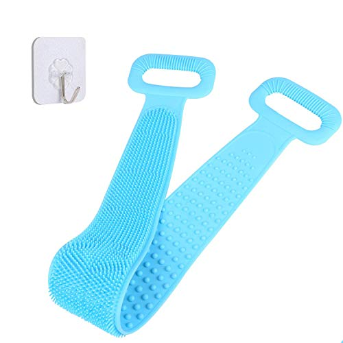 Nardoll Silicone Back Scrubber for Shower, Silicone Bath Body Brush for Men Women, Silicone Towel with Exfoliating Long Double Side Bath Strap, Easy to Clean, Back Massage, Lathers Well, Long Lasting