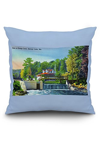 Sebago Lake, Maine - View of the Dam at Songo Lock (20x20 Spun Polyester Pillow Case, White Border)