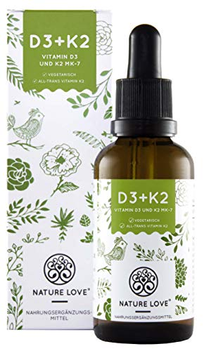 Vitamin D3 + K2 Tropfen 50ml. Premium: VitaMK7 von Gnosis 99,7% All Trans + besonders stabiles und...