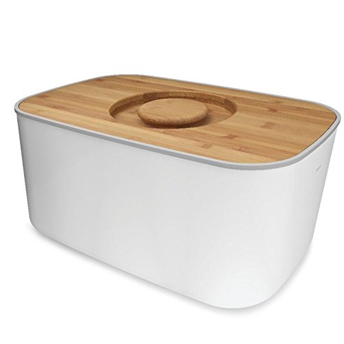 Joseph Joseph Steel Bread Bin with Cutting Board Lid - White