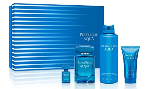 Perry Ellis Fragrances Aqua 4-Piece Gift Set, 3.4 Fluid Ounce
