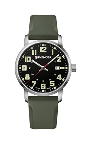 Wenger Men's Sport Stainless Steel Swiss-Quartz Watch with Silicone Strap, Green, 22 (Model:...