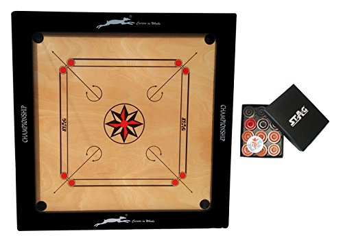Stag Championship Plywood Carrom Board with Coins, Adult 3-inch (Brown)