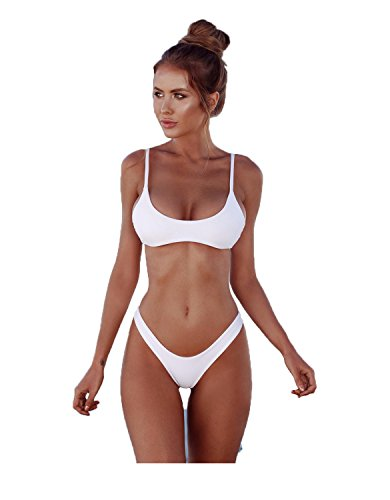 2018 Frauen-reizvolle Normallack-brasilianische Bikini-Set-Dreieck-Tanga Weiche gepolsterte Leck Spaltung Bikini Set 2 Stück Badeanzug (S, Weiß)