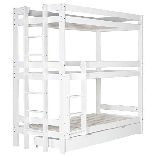 Homestyle4u 1978, Kinderbett Etagenbett 90x200 cm Dreifachbett Hochbett mit Bettkasten Weiß Holz