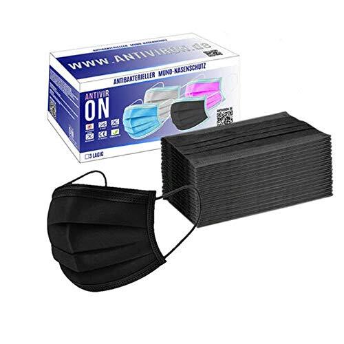 ANTIVIR ON 100 Stück Schwarz | Mund_und_nasenschutz | Masken_mundschutz | mundschutz_Maske | einwegmasken | Gesichtsmaske | mundschutz_einweg | schutzmasken | einmalmasken | Antiviron