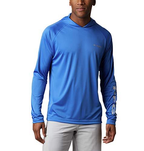 Columbia Men's PFG Terminal Tackle Fishing Hoodie, Breathable, UV Sun Protection,Vivid Blue/Cool Grey Logo,Large