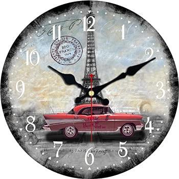 Bdhbeq Reloj de Pared Redondo Decorativo Grande Torre de París Taxi Vintage Sala de Estar decoración de la Pared Moda Reloj Retro silencioso Pared 14 Pulgadas (34 cm)